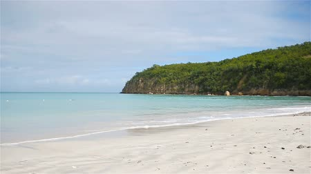 caribe : Idyllic tropical beach with white sand, turquoise ocean water and blue sky Vídeos