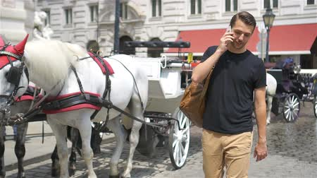 dinastia : Tourist man enjoying a stroll through Vienna and looking at the beautiful horses in the carriage