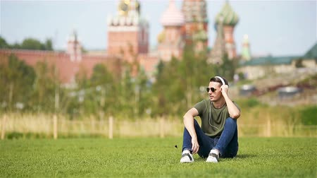 moscow : Happy young urban man enjoy his break in the city