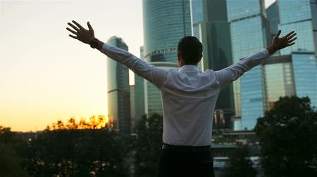 гордый : Back view of businessman looking on copy space while standing against glass skyscraper