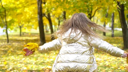 golden falls : Portrait of adorable little girl with yellow leaves bouquet in fall Stock Footage
