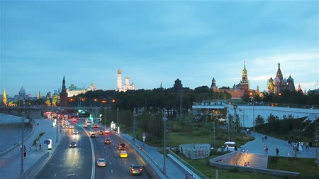 streetlights : Panoramic view of Moscow landmark during sunset from Zaryadye Park