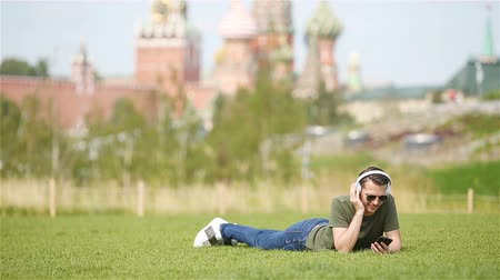 red square : Happy young urban man enjoy his break in the city