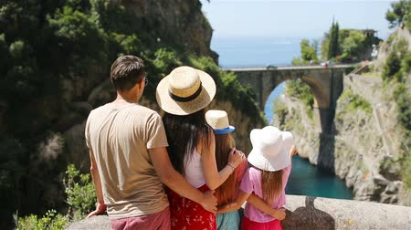 amalfi : Famous fiordo di furore beach seen from bridge. Stock Footage