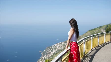 amalfi : Summer holiday in Italy. Young woman on the background, Amalfi Coast, Italy Stock Footage