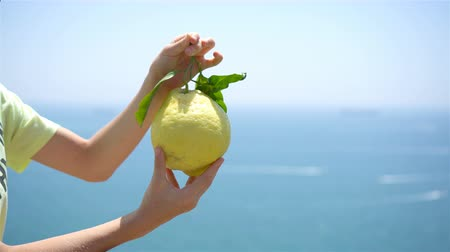 costiera amalfitana : Big yellow lemon in hand in background of mediterranean sea and sky. Filmati Stock