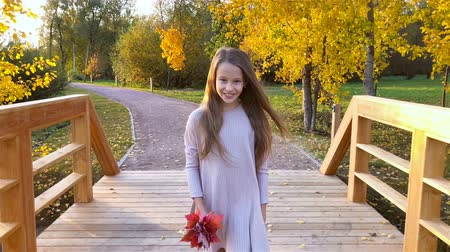 Portrait of adorable little girl with yellow leaves bouquet in fall Wideo