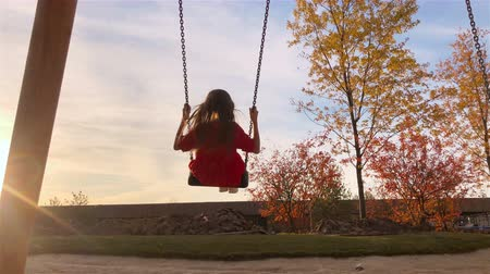 Adorable little girl having fun on the swing in autumn