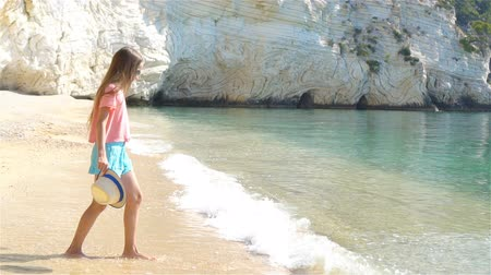 white sand : Adorable little girl on the seashore alone