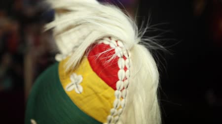 câmara : National African clothing. headdress with a crest of hair. Close-up