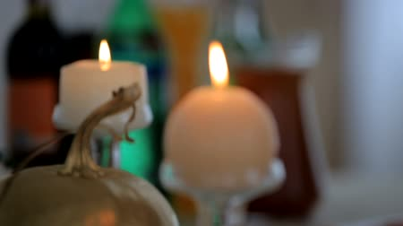 obrus : Candles and decorations on the festive table Wideo