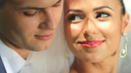 новобрачный : Portrait of newlywed couple in love . tenderness love Стоковые видеозаписи