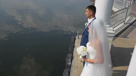 kolumny : beautiful groom and bride against the backdrop of the lake. Wedding walk along the waterfront Wideo