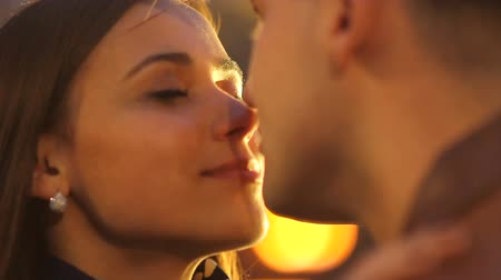 parentes : Portrait of a beautiful couple in the light of a spotlight in love Stock Footage