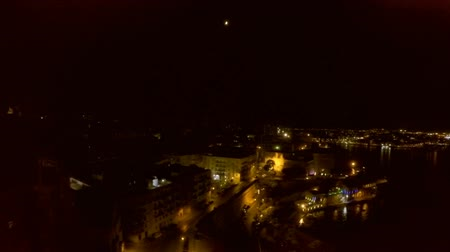 tourist silhouette : Night city from a birds-eye view. Aerofutazh. Malta