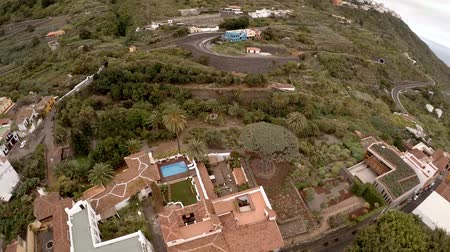 unutulmayan : Unforgettable vacation in Tenerife. Exotic plants and trees, hotels and beaches of Tenerife from a birds-eye view. Aerial photography Stok Video