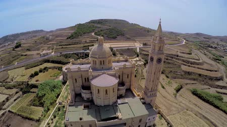 ilginç : Aerial view Gozo, Malta, Ta Pinu famous basilica. wonderful journey through Malta