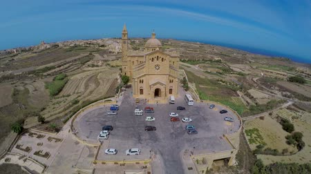 papież : Aerial view Gozo, Malta, Ta Pinu famous basilica. Great holiday in Malta. Picturesque landscapes of Malta. Aerofutage Wideo