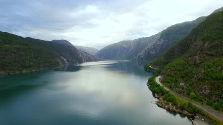 norueguês : Aerial view of the landscape of Norway.