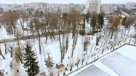 frozen lake : aero-view of the city winter park. Men play hockey. The concept of active winter recreation.
