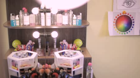 Professional cosmetics. Interior of make-up artists salon