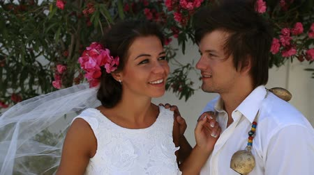 Beautiful newlyweds. boho style. greece