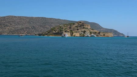 Cretan island of Spinalonga. Crete. Greece. Sea voyage by boat to the island. Stock mozgókép