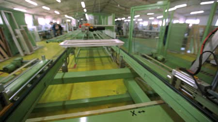 Line production of plastic windows. working machine for the manufacture of plastic windows Stock mozgókép