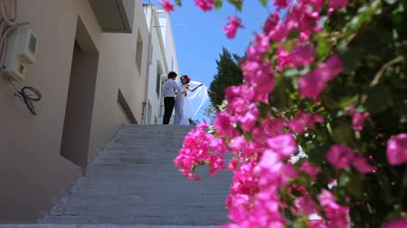 bride and groom on the street of Greece. Wedding day.