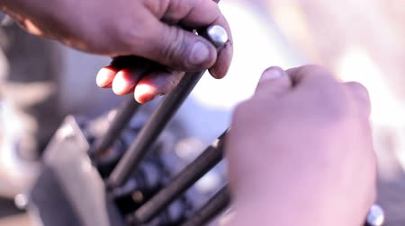 toggle : hands of the worker switch the levers. Closeup Stock Footage