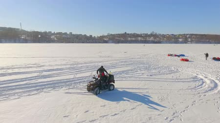 parachuting : Competitions of paraglider pilots on the frozen lake. Ternopil Ukraine