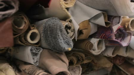 cuciture : Rolls of fabric ready to be used in sofas plant