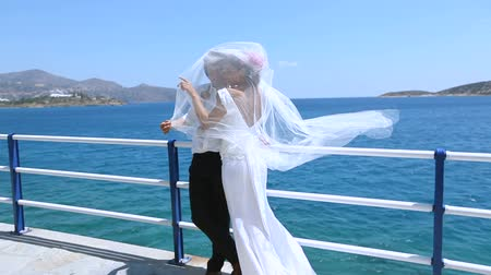 photoshoot : Wedding day. Happy newlyweds on the background of the sea