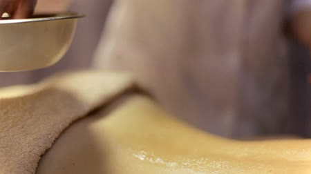 revitalizing : Back massage close-up. Ayurvedic massage Stock Footage