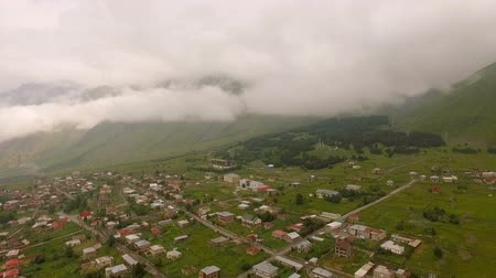 mediaeval : Aerial view of small village. Kazbegi, Stepantsminda Village