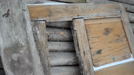 wicket : Old ruined abandoned wooden house Stock Footage