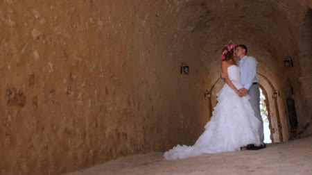 nişanlısı : happy newlyweds in wedding day in an ancient castle