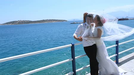 photoshoot : Wedding day. Happy newlyweds under a veil of the bride on the sea coast. Stock Footage