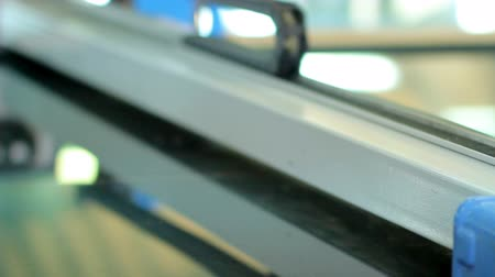pvc frame : Line production of plastic windows. close-up part of the operating equipment Stock Footage