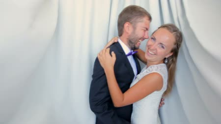 навсегда : Happy bride and groom on their wedding day on a white background