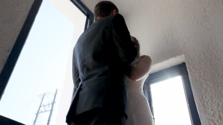 forever : Happy newlyweds in their hotel . Stock Footage