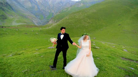 fiancee : Enamored newlyweds walk in the evening in the meadow against the backdrop of beautiful mountains