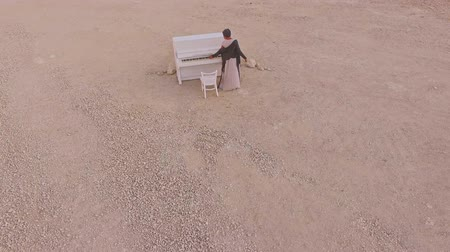 enchanted princess : Surreal story- girl near the white piano in the desert against the background of mountains and stones. Aerial view.