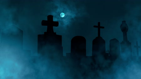 могила : Sliding cam animation of a scary, spooky cemetery scenery with fog rising, full moon and fast moving clouds. Computer generated.