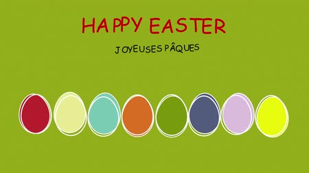 desenli : Happy Easter - different languages ???? - Colorful easter eggs scribbled in motion