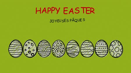 desenli : Happy Easter - different languages ???? - Patterned scribbled easter eggs in motion Stok Video