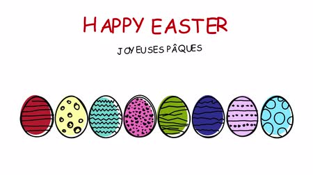 desenli : Happy Easter - different languages ???? - Colorful patterned scribbled easter eggs in motion