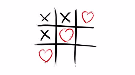 tık : Tic Tac Toe - Love Wins - alpha channel included Stok Video