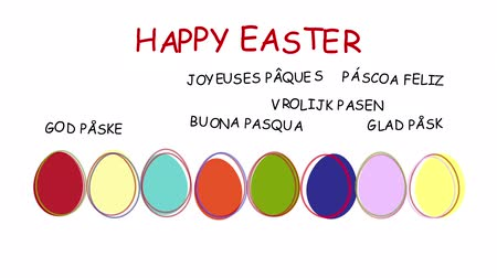 easter : Happy Easter - animated hand drawn easter eggs - sequence, alpha channel included