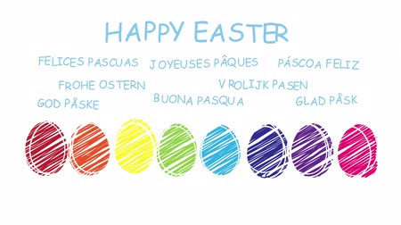 desenli : Happy Easter - animated hand drawn easter eggs - sequence Stok Video
